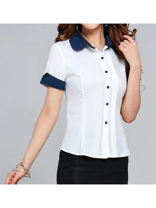 女式白色短袖衬衣