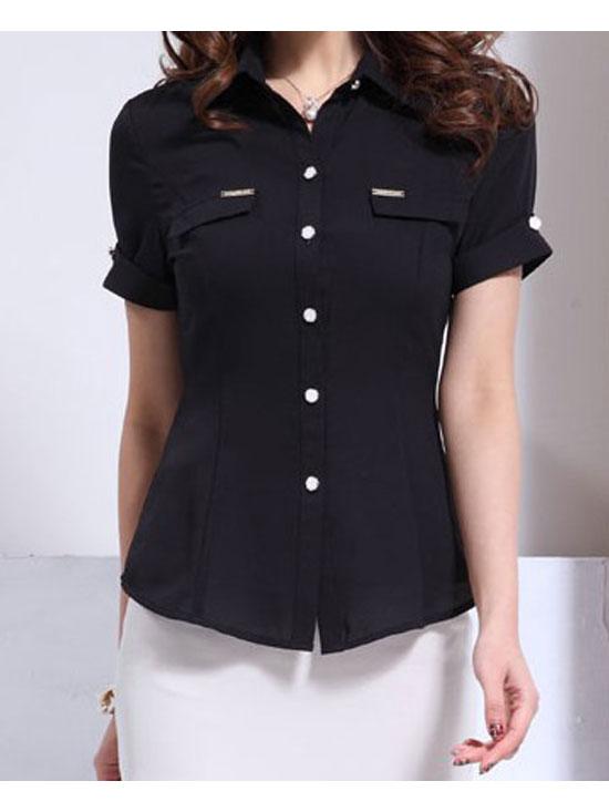 黑色短袖衬衣