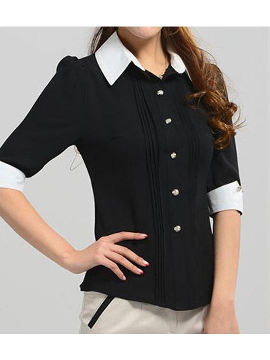 黑色中袖衬衣