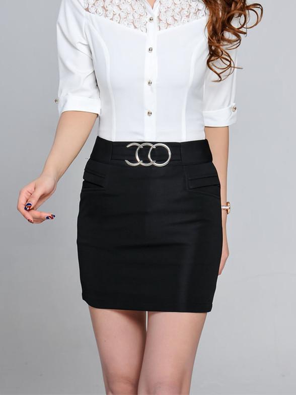女士黑色迷你短裙单裙职业装