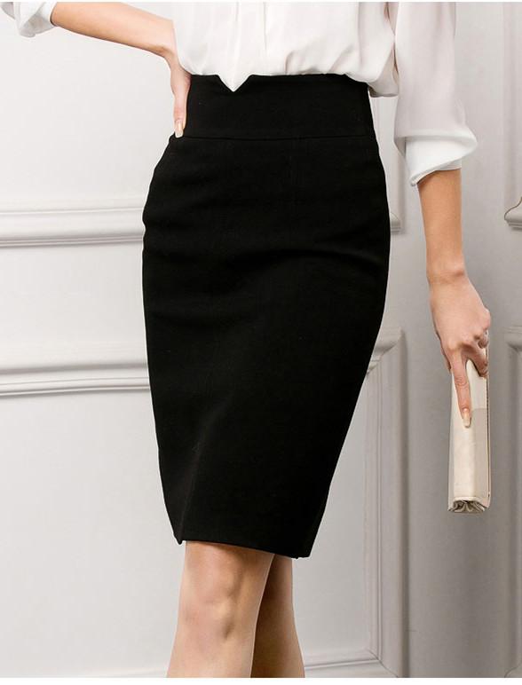 新款半身裙优雅高腰中裙黑色职业装