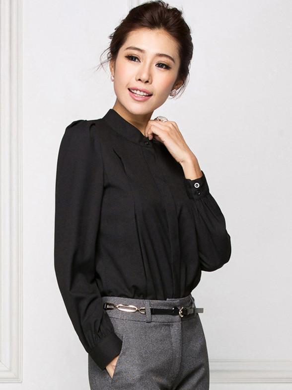 秋冬黑色长袖衬衫修身OL风格气质女士衬衣