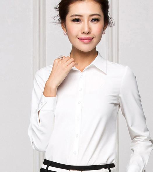 新款女装韩版免烫衬衣修身女长袖简约通勤OL职业白衬衫