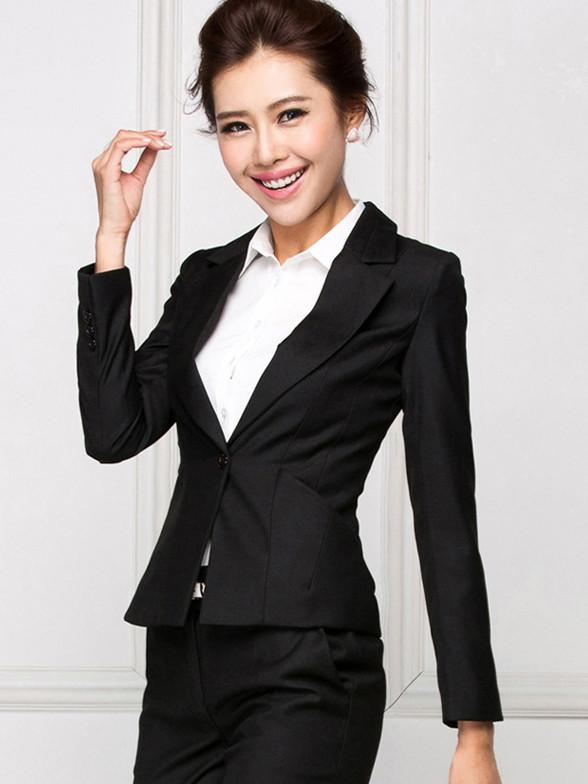 OL长款修身小西装职业女装外套