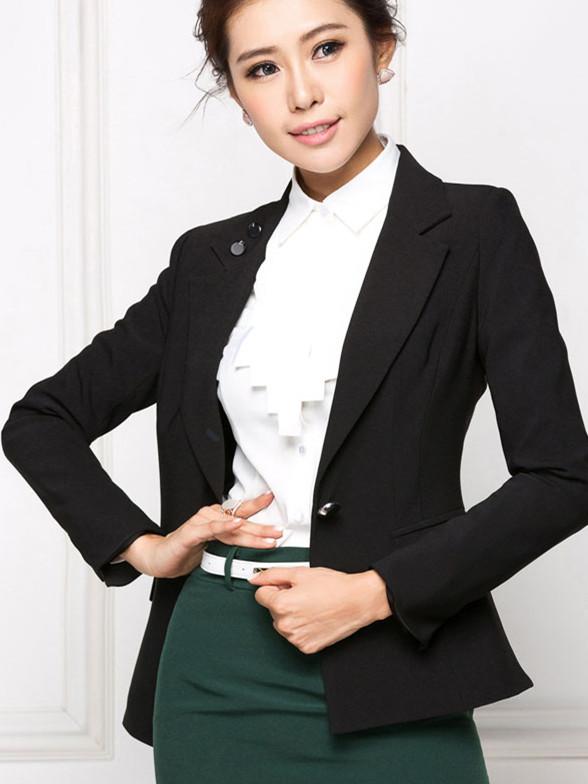秋冬时尚韩版女士正装西装修身工作服