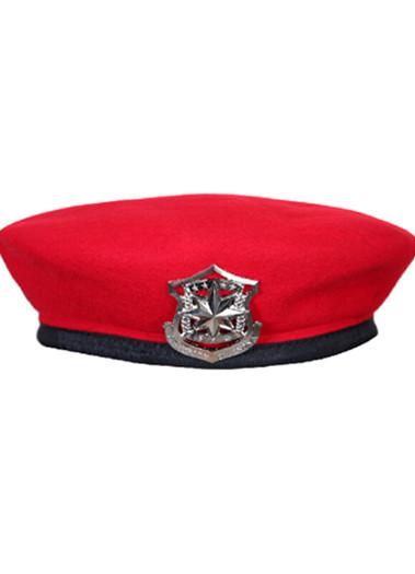 保安贝雷帽保安帽男士礼仪队帽子羊毛呢子布保安工作帽