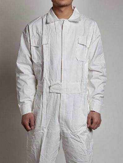 全棉连体工作服长袖工装男女红白蓝透气服汽修劳保服